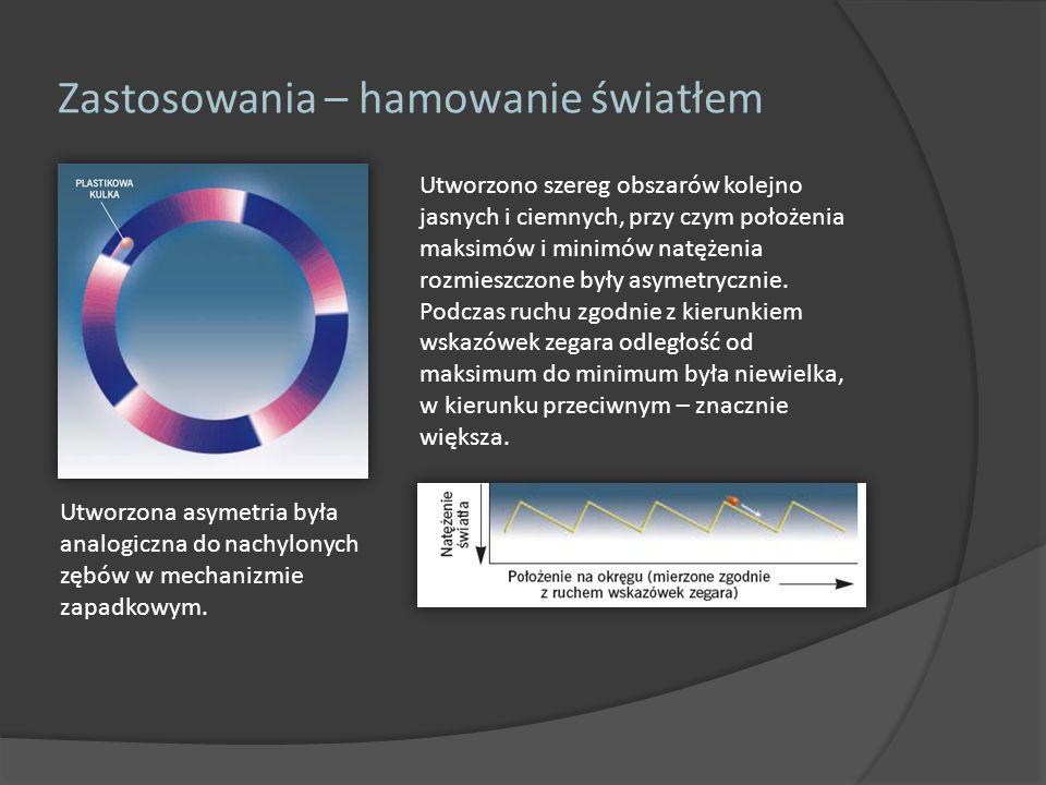 Zastosowania – hamowanie światłem Utworzono szereg obszarów kolejno jasnych i ciemnych, przy czym położenia maksimów i minimów natężenia rozmieszczone
