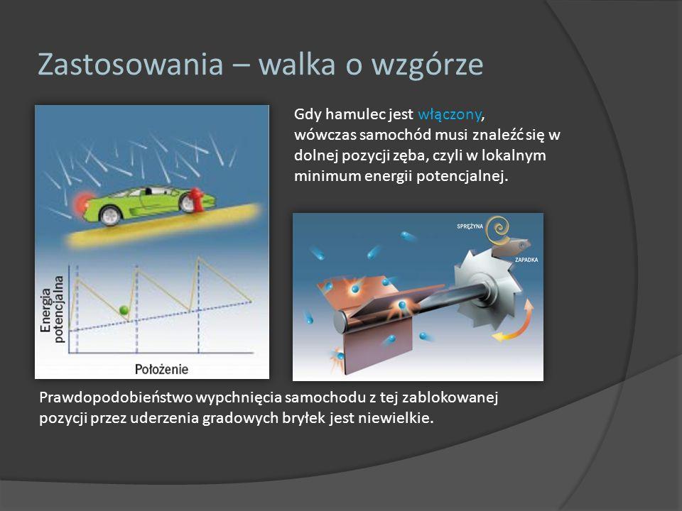 Zastosowania – walka o wzgórze Gdy hamulec jest włączony, wówczas samochód musi znaleźć się w dolnej pozycji zęba, czyli w lokalnym minimum energii po