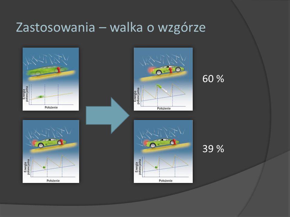 Zastosowania – walka o wzgórze 60 % 39 % Przybliżone obliczenia wykazują że przy realistycznej częstości naciskania hamulca samochód mógłby osiągnąć prędkość nie przekraczającą kilometra na godzinę, czyli mniej więcej jedną dziesiątą swojej długości na sekundę.