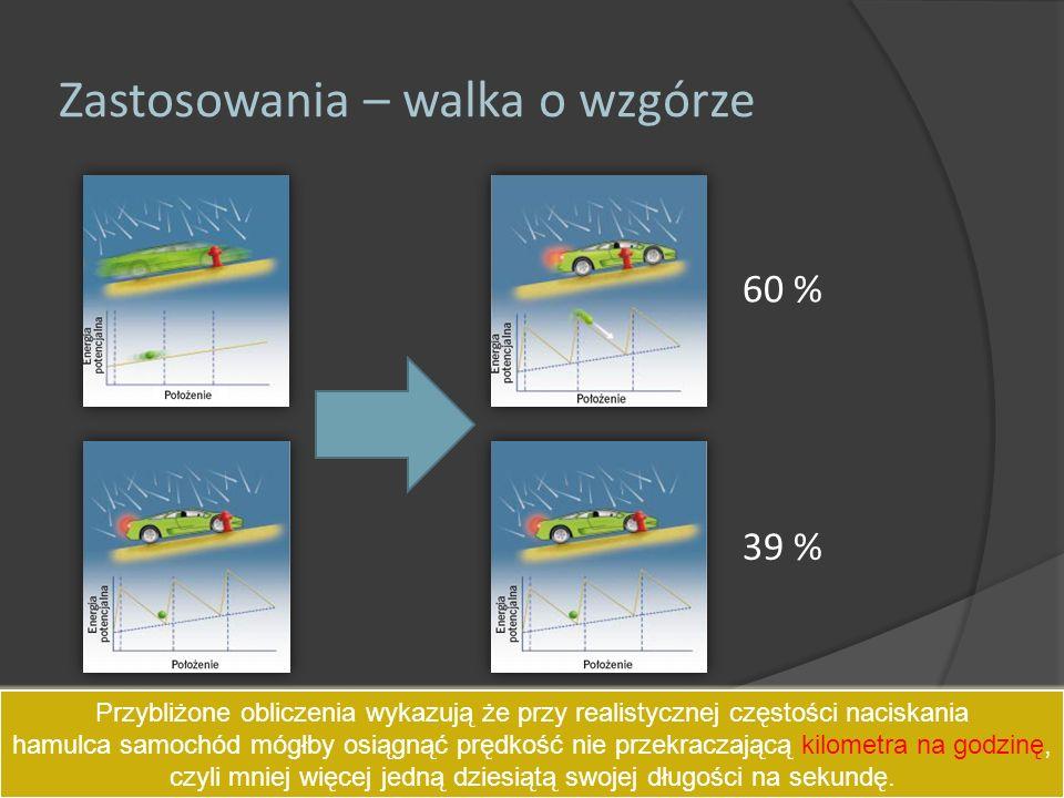 Zastosowania – walka o wzgórze 60 % 39 % Przybliżone obliczenia wykazują że przy realistycznej częstości naciskania hamulca samochód mógłby osiągnąć p