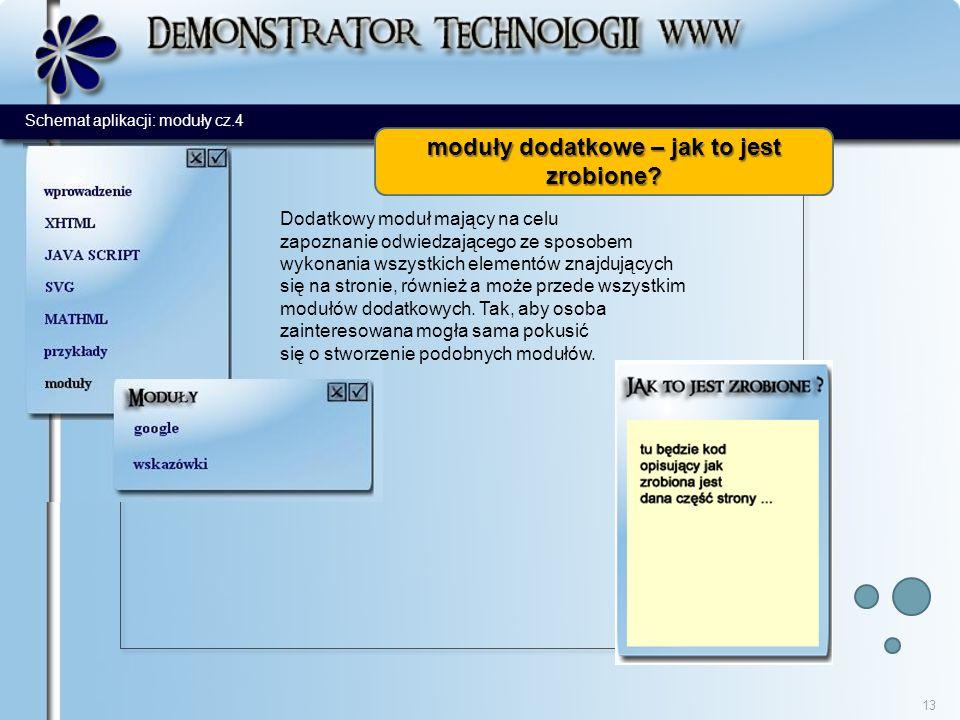 13 Dodatkowy moduł mający na celu zapoznanie odwiedzającego ze sposobem wykonania wszystkich elementów znajdujących się na stronie, również a może przede wszystkim modułów dodatkowych.