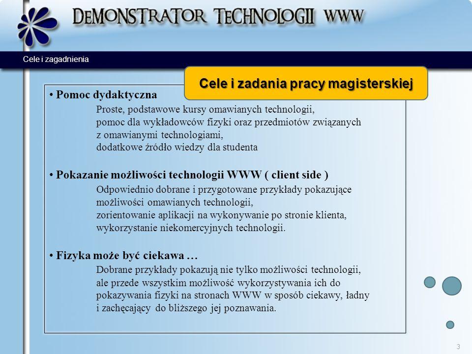 Pomoc dydaktyczna Proste, podstawowe kursy omawianych technologii, pomoc dla wykładowców fizyki oraz przedmiotów związanych z omawianymi technologiami, dodatkowe źródło wiedzy dla studenta Pokazanie możliwości technologii WWW ( client side ) Odpowiednio dobrane i przygotowane przykłady pokazujące możliwości omawianych technologii, zorientowanie aplikacji na wykonywanie po stronie klienta, wykorzystanie niekomercyjnych technologii.