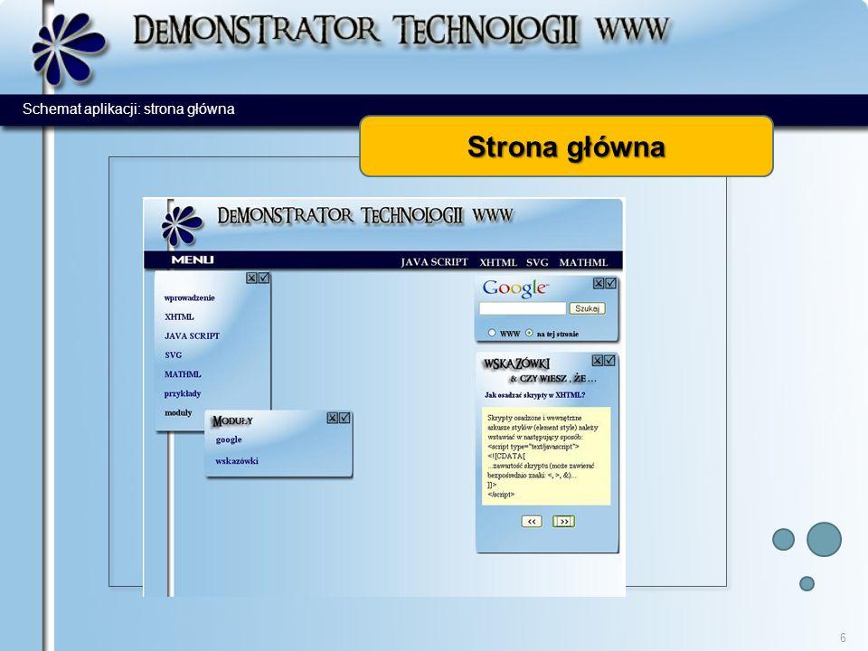 Strona główna 6 Schemat aplikacji: strona główna
