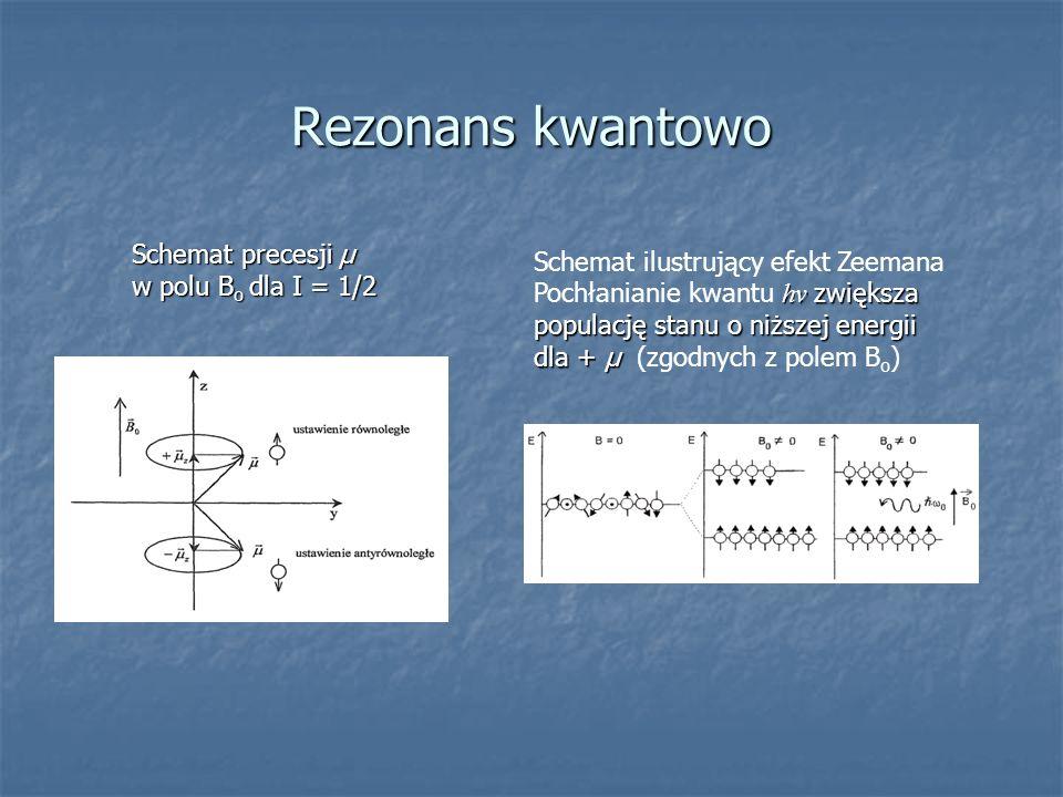 Rezonans kwantowo Schemat precesjiµ Schemat precesji µ w polu B o dla I = 1/2 Schemat ilustrujący efekt Zeemana hν zwiększa populację stanu o niższej