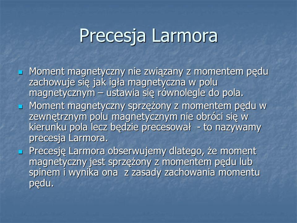 Precesja Larmora Moment magnetyczny nie związany z momentem pędu zachowuje się jak igła magnetyczna w polu magnetycznym – ustawia się równolegle do po
