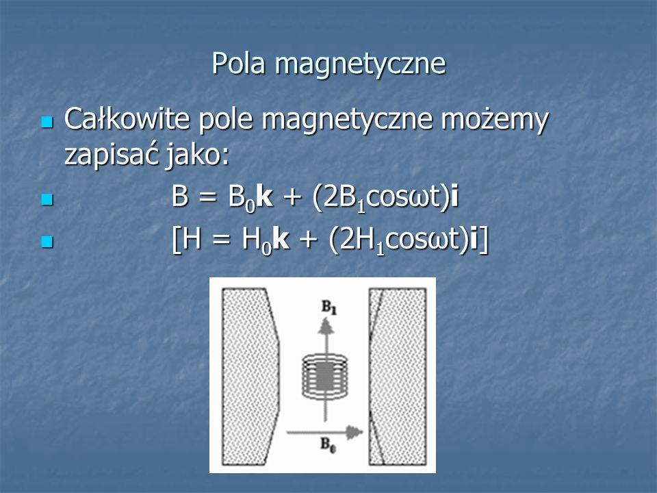 Pola magnetyczne Całkowite pole magnetyczne możemy zapisać jako: Całkowite pole magnetyczne możemy zapisać jako: B = B 0 k + (2B 1 cosωt)i B = B 0 k +