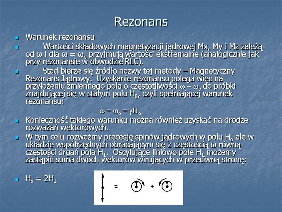 Rezonans Warunek rezonansu Warunek rezonansu Wartości składowych magnetyzacji jądrowej Mx, My i Mz zależą od ω i dla ω = ω o przyjmują wartości ekstre