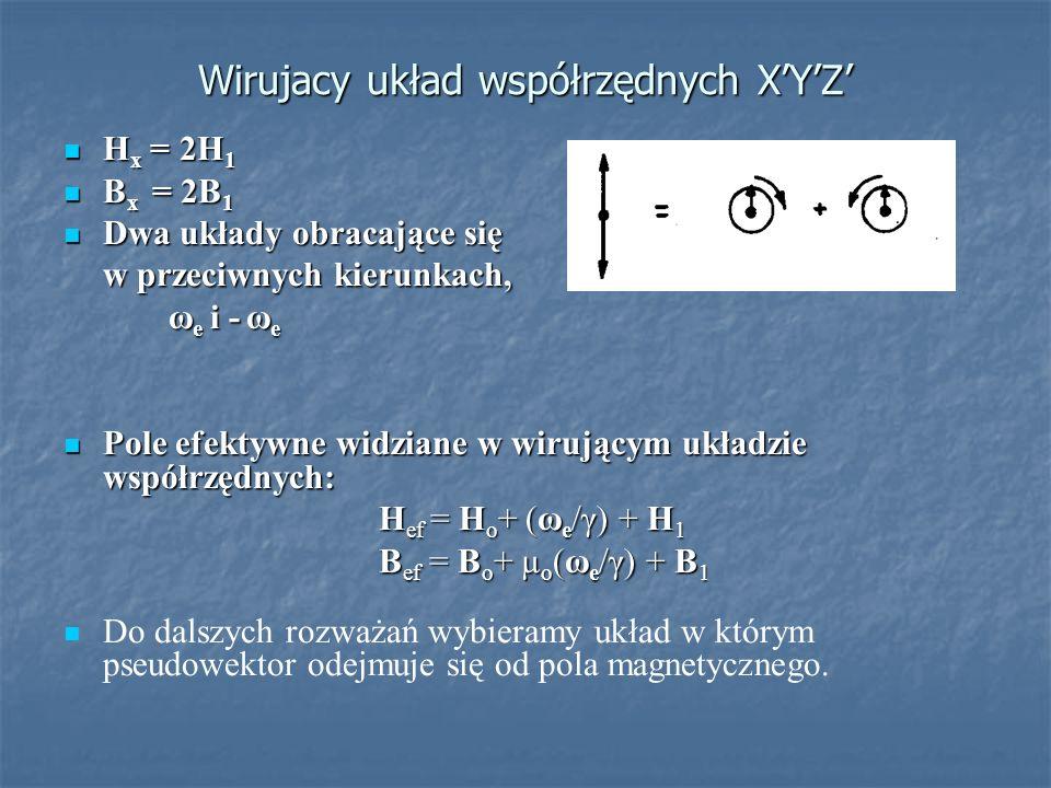 Wirujacy układ współrzędnych XYZ H x = 2H 1 H x = 2H 1 B x = 2B 1 B x = 2B 1 Dwa układy obracające się Dwa układy obracające się w przeciwnych kierunk