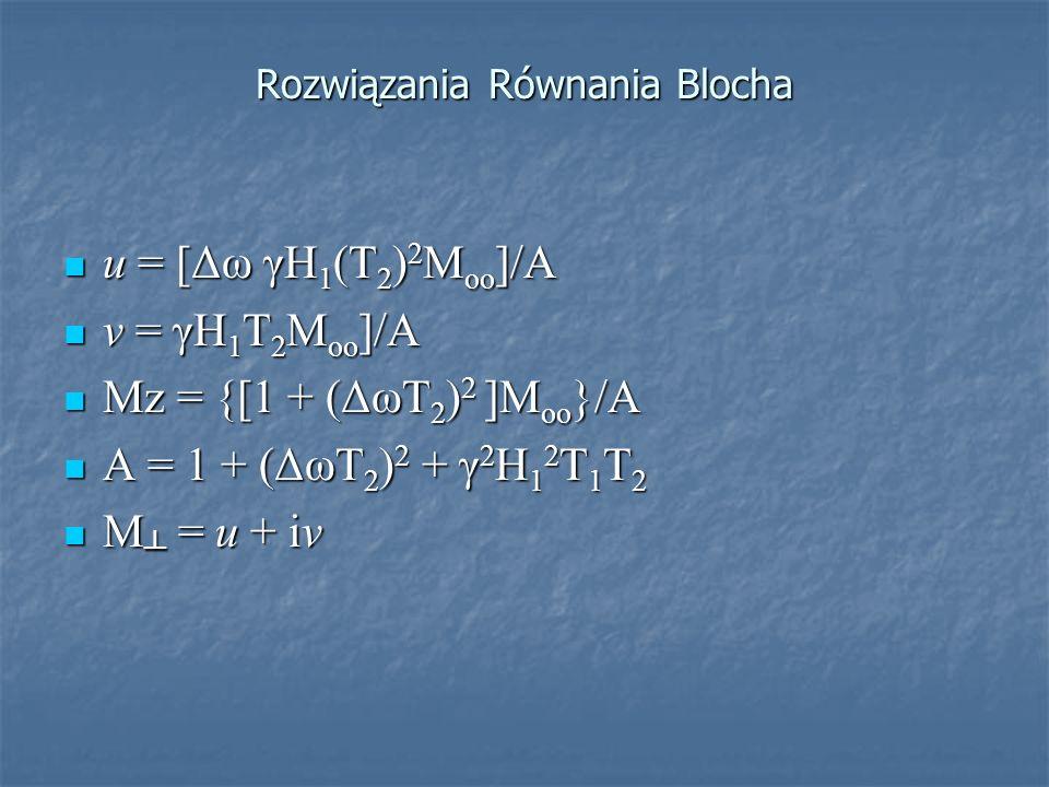 Rozwiązania Równania Blocha u = [Δω γH 1 (T 2 ) 2 M oo ]/A u = [Δω γH 1 (T 2 ) 2 M oo ]/A v = γH 1 T 2 M oo ]/A v = γH 1 T 2 M oo ]/A Mz = {[1 + (ΔωT