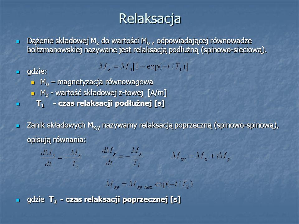 Relaksacja Dążenie składowej M z do wartości M o, odpowiadającej równowadze boltzmanowskiej nazywane jest relaksacją podłużną (spinowo-sieciową). Dąże