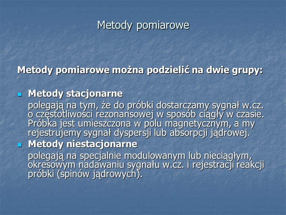 Metody pomiarowe Metody pomiarowe można podzielić na dwie grupy: Metody stacjonarne Metody stacjonarne polegają na tym, że do próbki dostarczamy sygna