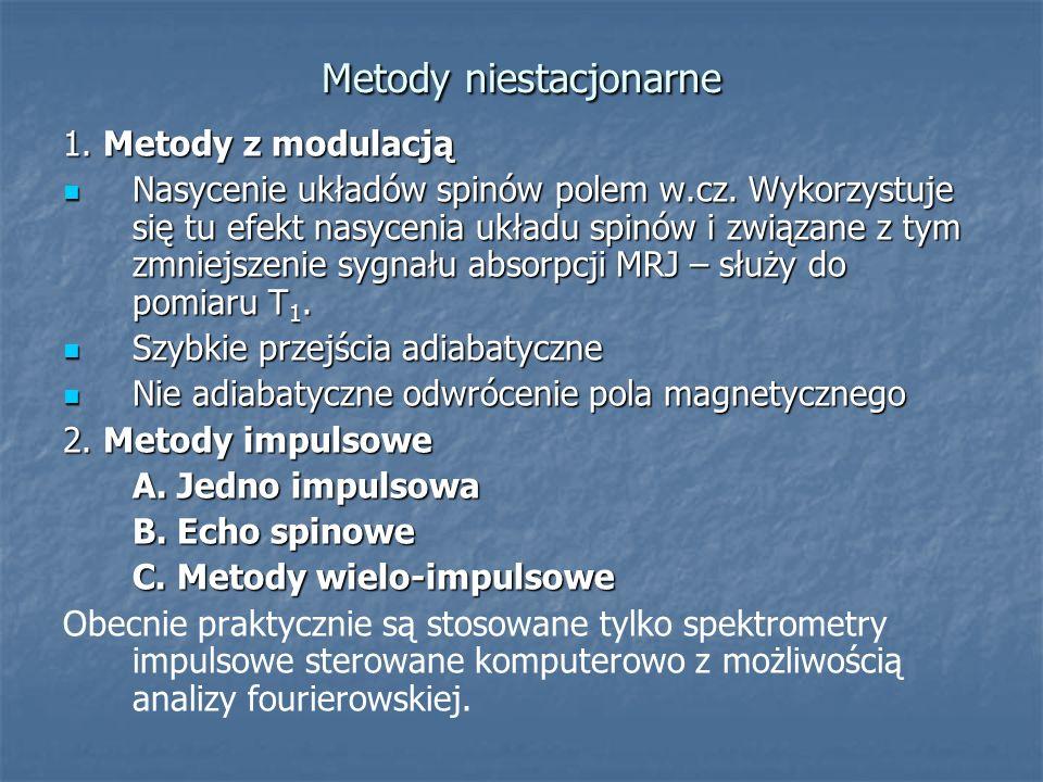 Metody niestacjonarne 1. Metody z modulacją Nasycenie układów spinów polem w.cz. Wykorzystuje się tu efekt nasycenia układu spinów i związane z tym zm