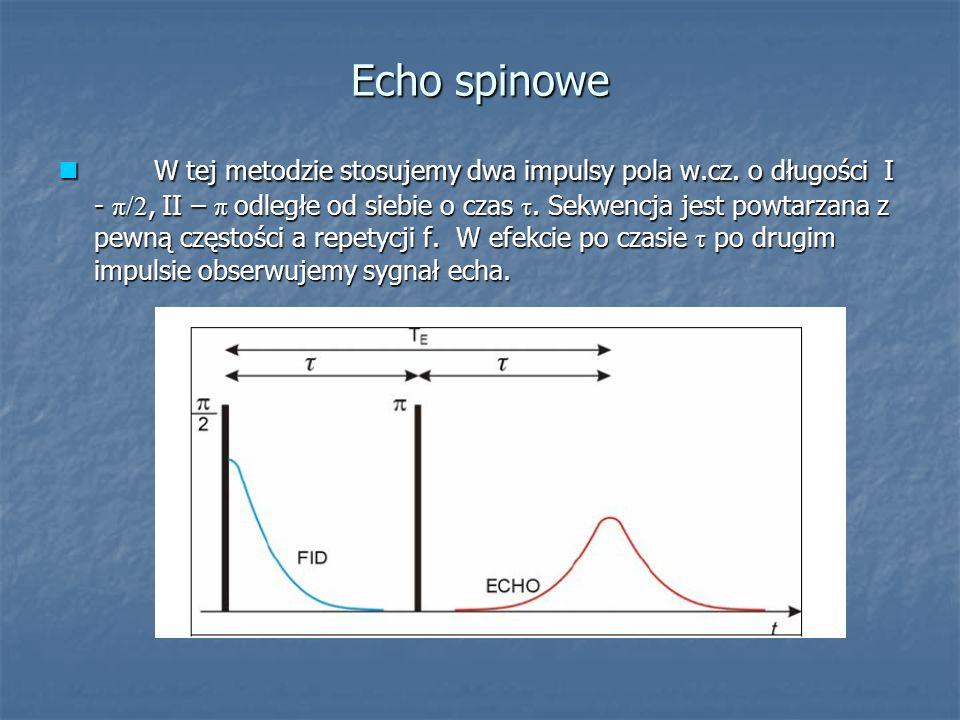 Echo spinowe W tej metodzie stosujemy dwa impulsy pola w.cz. o długości I - π/2, II – π odległe od siebie o czas τ. Sekwencja jest powtarzana z pewną