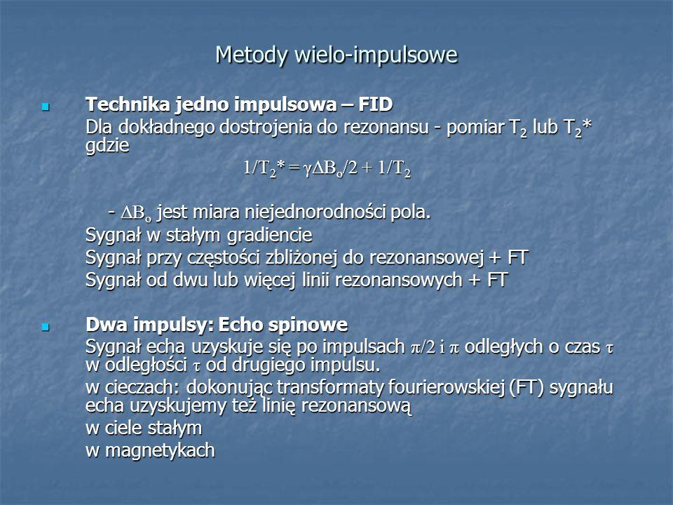 Metody wielo-impulsowe Technika jedno impulsowa – FID Technika jedno impulsowa – FID Dla dokładnego dostrojenia do rezonansu - pomiar T 2 lub T 2 * gd
