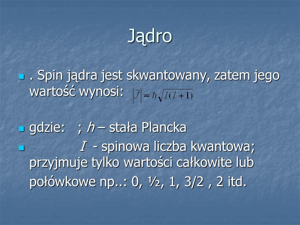 Jądro. Spin jądra jest skwantowany, zatem jego wartość wynosi:. Spin jądra jest skwantowany, zatem jego wartość wynosi: gdzie: ; h – stała Plancka gdz