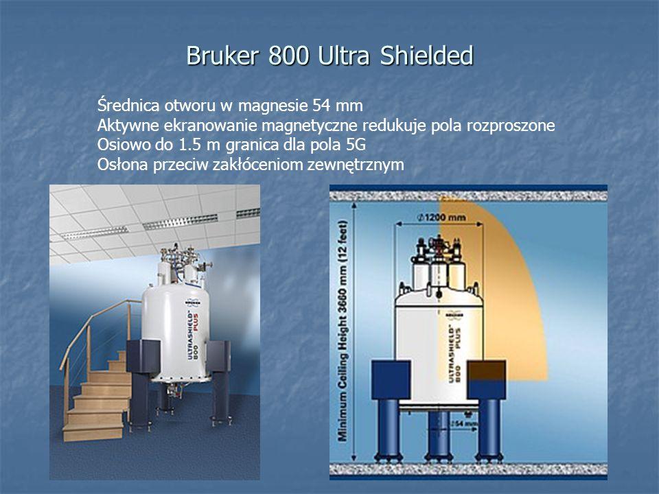 Bruker 800 Ultra Shielded Średnica otworu w magnesie 54 mm Aktywne ekranowanie magnetyczne redukuje pola rozproszone Osiowo do 1.5 m granica dla pola