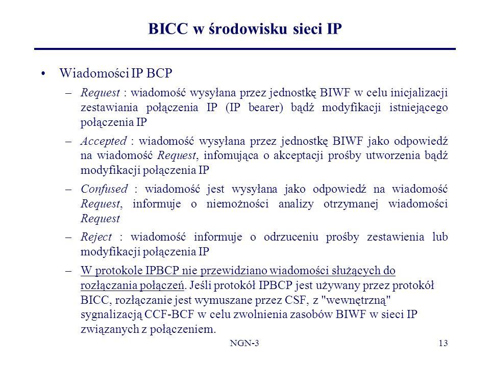 NGN-313 BICC w środowisku sieci IP Wiadomości IP BCP –Request : wiadomość wysyłana przez jednostkę BIWF w celu inicjalizacji zestawiania połączenia IP