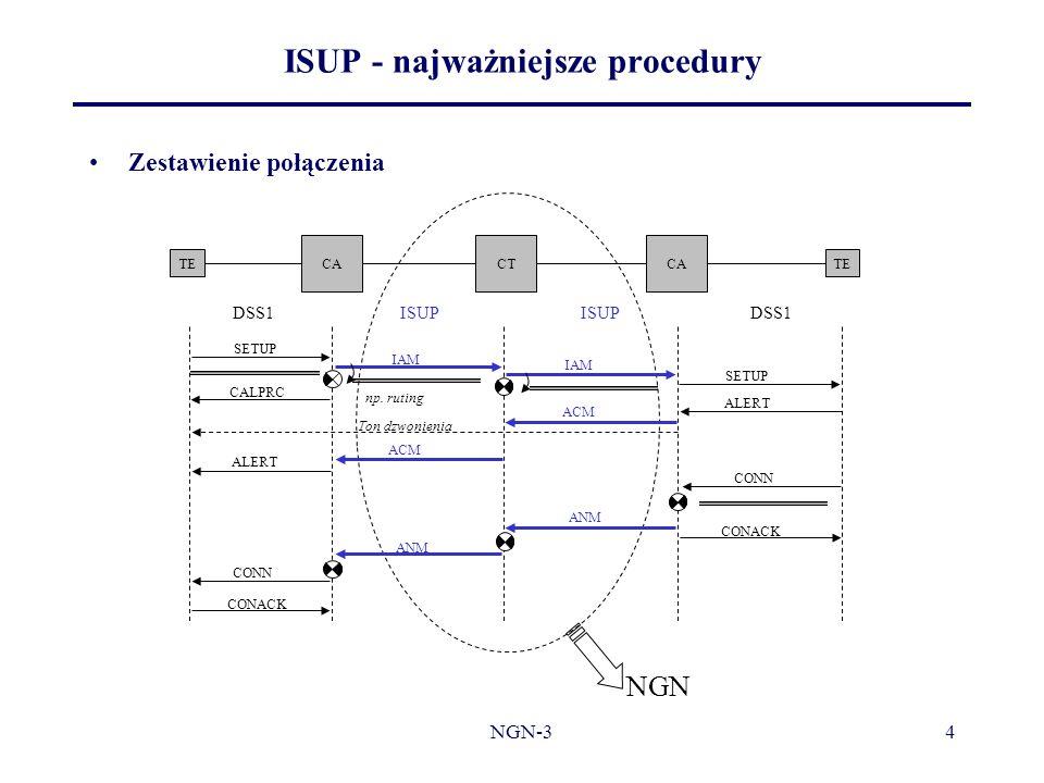 NGN-34 Zestawienie połączenia ISUP - najważniejsze procedury TE CACTCA TE DSS1 ISUP DSS1 SETUP IAM SETUP ALERT CONN CONACK ACM CALPRC ALERT Ton dzwoni