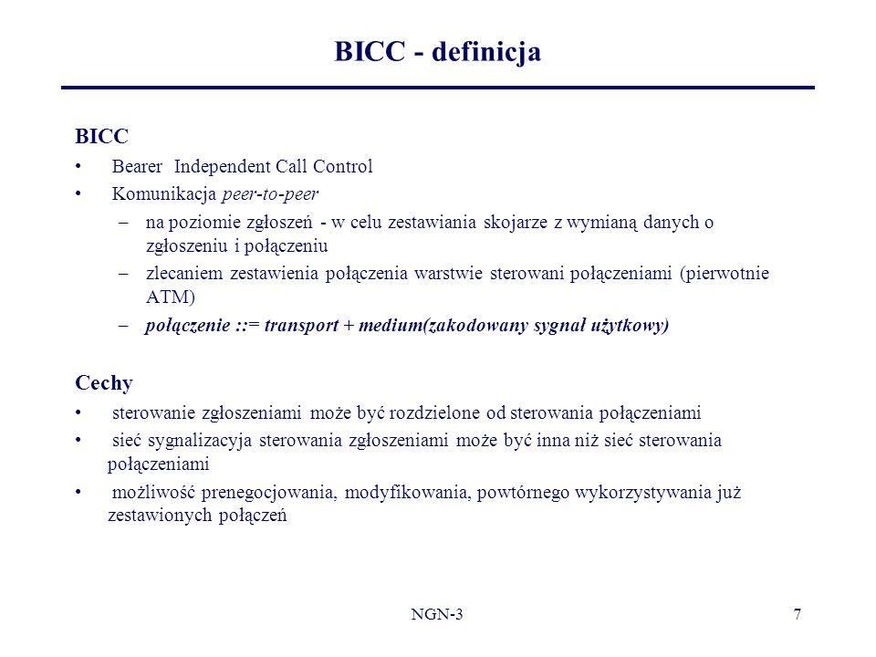 NGN-37 BICC - definicja BICC Bearer Independent Call Control Komunikacja peer-to-peer –na poziomie zgłoszeń - w celu zestawiania skojarze z wymianą da