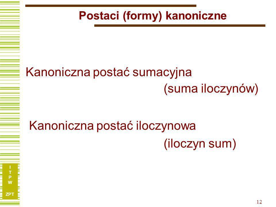 I T P W ZPT 12 Postaci (formy) kanoniczne Kanoniczna postać sumacyjna (suma iloczynów) Kanoniczna postać iloczynowa (iloczyn sum)