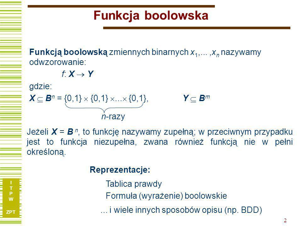 I T P W ZPT 2 Funkcja boolowska Funkcją boolowską zmiennych binarnych x 1,...,x n nazywamy odwzorowanie: f: X Y gdzie: X B n = {0,1} {0,1}... {0,1}, Y