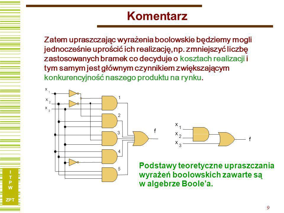 I T P W ZPT 9 Komentarz Zatem upraszczając wyrażenia boolowskie będziemy mogli jednocześnie uprościć ich realizację, np. zmniejszyć liczbę zastosowany