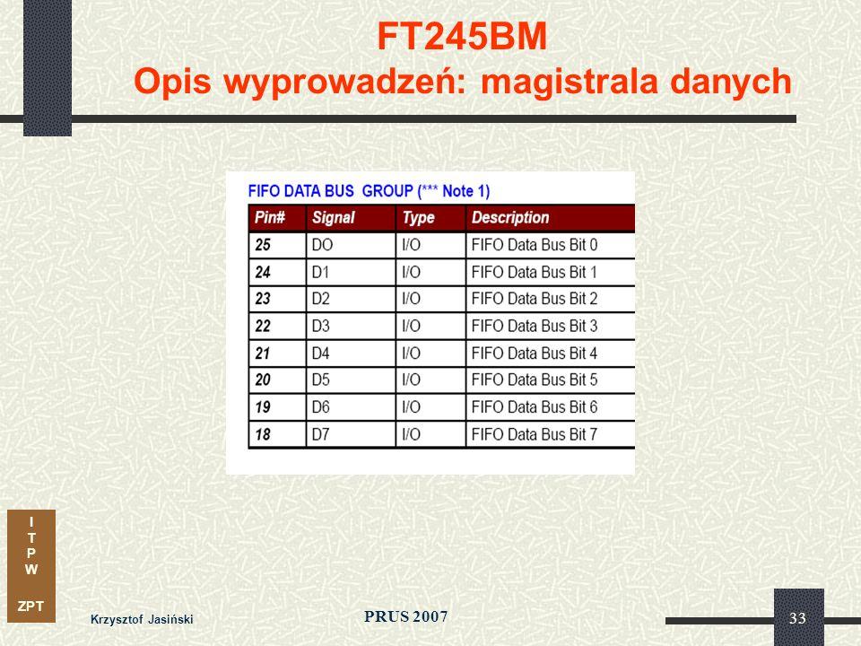 I T P W ZPT PRUS 2007 Krzysztof Jasiński 33 FT245BM Opis wyprowadzeń: magistrala danych