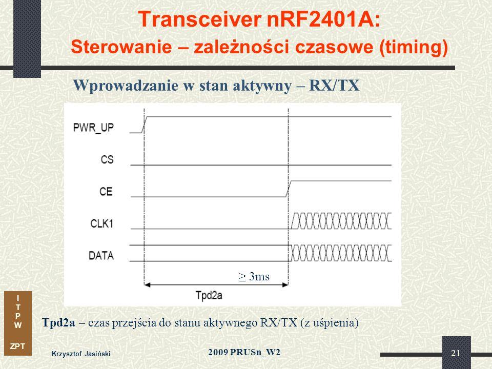 I T P W ZPT 2009 PRUSn_W2 Krzysztof Jasiński 21 Transceiver nRF2401A: Sterowanie – zależności czasowe (timing) Wprowadzanie w stan aktywny – RX/TX Tpd2a – czas przejścia do stanu aktywnego RX/TX (z uśpienia) 3ms
