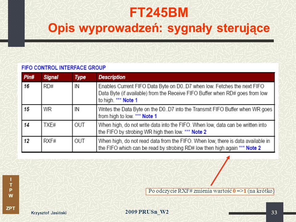 I T P W ZPT 2009 PRUSn_W2 Krzysztof Jasiński 33 FT245BM Opis wyprowadzeń: sygnały sterujące Po odczycie RXF# zmienia wartość 0 =>1 (na krótko)