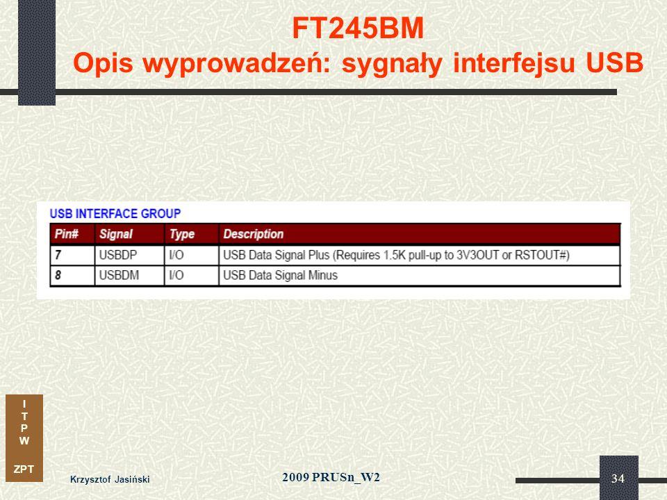 I T P W ZPT 2009 PRUSn_W2 Krzysztof Jasiński 34 FT245BM Opis wyprowadzeń: sygnały interfejsu USB