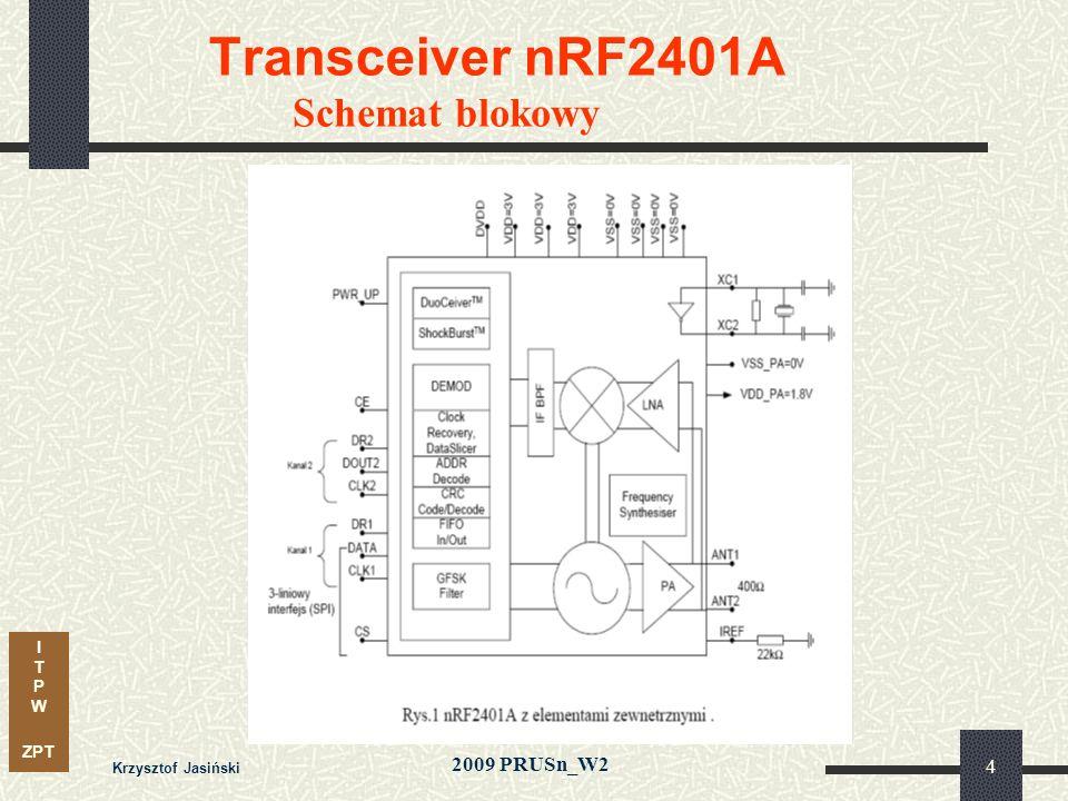 I T P W ZPT 2009 PRUSn_W2 Krzysztof Jasiński 4 Transceiver nRF2401A Schemat blokowy