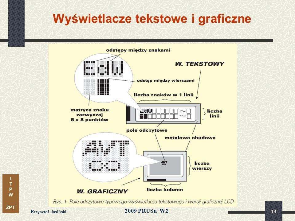 I T P W ZPT 2009 PRUSn_W2 Krzysztof Jasiński 43 Wyświetlacze tekstowe i graficzne