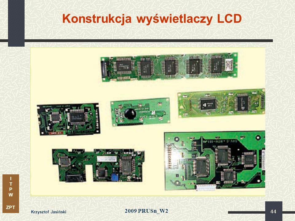 I T P W ZPT 2009 PRUSn_W2 Krzysztof Jasiński 44 Konstrukcja wyświetlaczy LCD
