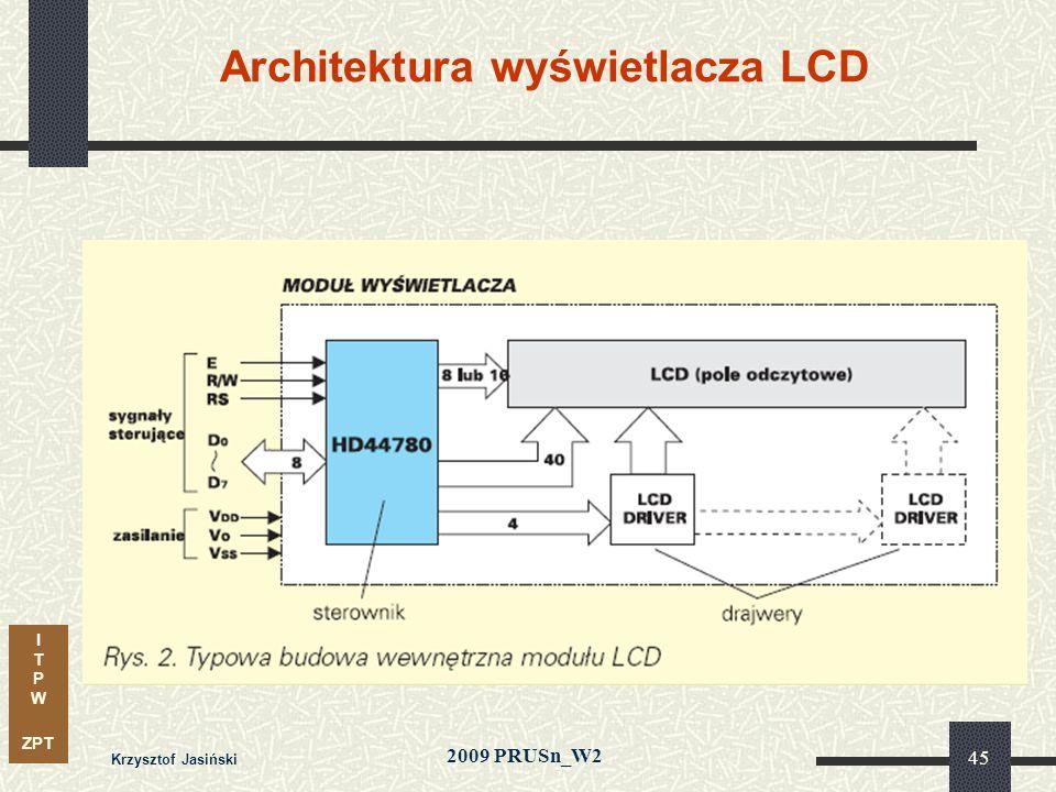 I T P W ZPT 2009 PRUSn_W2 Krzysztof Jasiński 45 Architektura wyświetlacza LCD