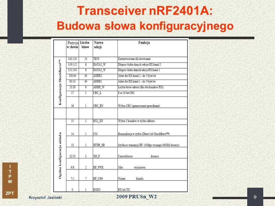 I T P W ZPT 2009 PRUSn_W2 Krzysztof Jasiński 40 Transceiver (nadajnik- odbiornik) RF: - budowa i zasady działania, - parametry i konfiguracja, - sterowanie, wymagania czasowe Konwerter USB port równoległy (FPGA) - budowa i zasady działania, - sterowanie, obsługa transmisji Wyświetlacz alfanumeryczny LCD - budowa i zasady działania - procedury obsługi, wymagania czasowe Wprowadzenie do tematyki projektów