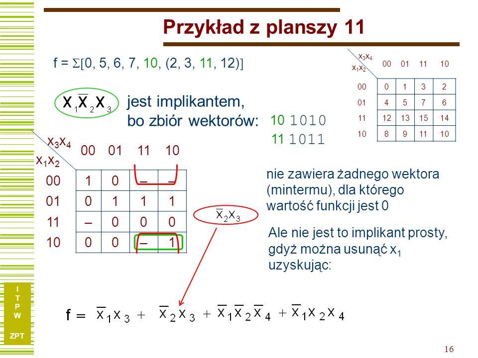 I T P W ZPT I T P W ZPT 16 Przykład z planszy 11 f = 0, 5, 6, 7, 10, (2, 3, 11, 12) x3x4x1x2x3x4x1x2 00011110 0010–– 010111 11–000 1000–1 10 1010 11 1