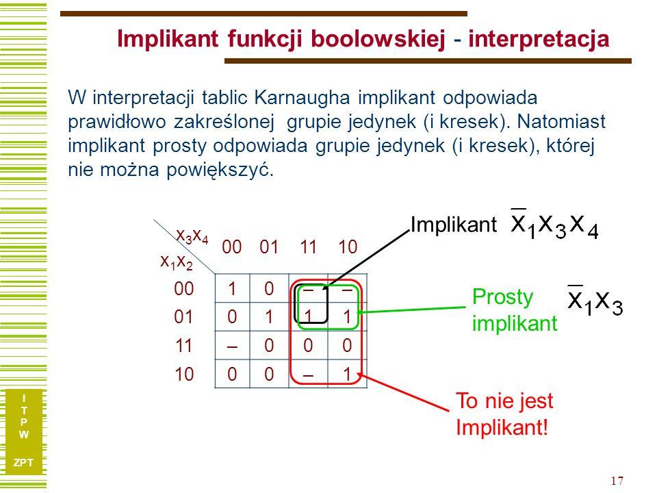 I T P W ZPT I T P W ZPT 17 Implikant funkcji boolowskiej - interpretacja x3x4x1x2x3x4x1x2 00011110 0010–– 010111 11–000 1000–1 To nie jest Implikant!