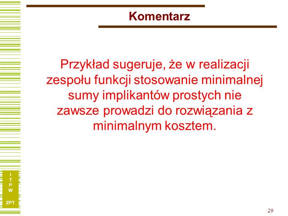 I T P W ZPT I T P W ZPT 29 Komentarz Przykład sugeruje, że w realizacji zespołu funkcji stosowanie minimalnej sumy implikantów prostych nie zawsze pro
