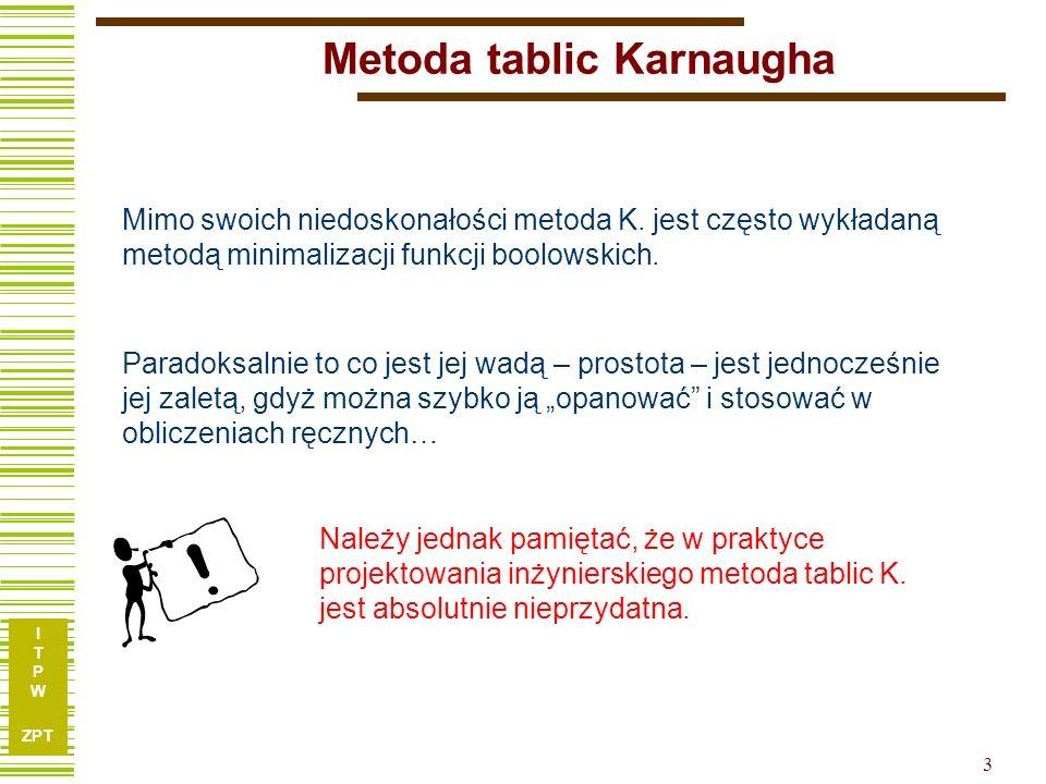 I T P W ZPT I T P W ZPT 3 Metoda tablic Karnaugha Mimo swoich niedoskonałości metoda K. jest często wykładaną metodą minimalizacji funkcji boolowskich
