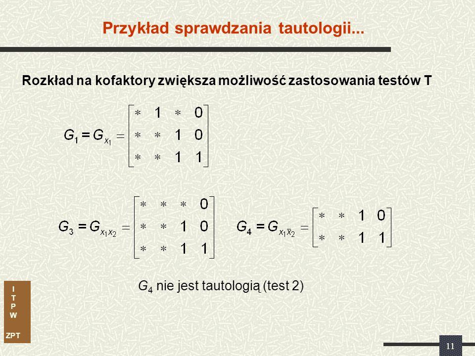 I T P W ZPT 10 Przykład sprawdzania tautologii Testy T.