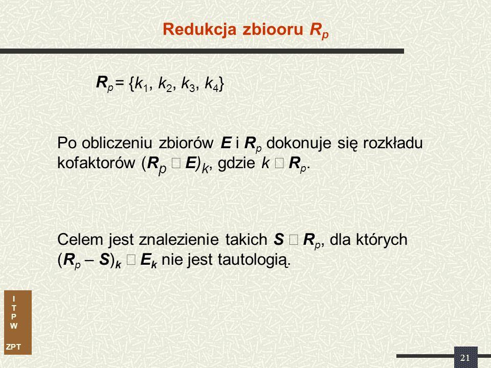 I T P W ZPT 20 Obliczanie zbioru R P R = {k 1, k 2, k 3, k 4 } E Ostatecznie: E = {k 5, k 6, k 7 } E: 0 0 10 Czy (E) jest tautologią Czy k 1 = 001 jest bezwzględnie, czy względnie nadmiarowa E = 0 nie jest tautologią Czyli k 1 jest kostką względnie nadmiarową Ostatecznie zbiór R p = {k 1, k 2, k 3, k 4 }
