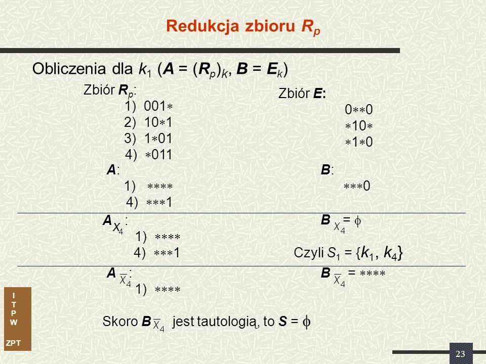 I T P W ZPT 22 Obliczanie zbiorów S R W celu obliczenia S dla danej k (R p ) należy: RE 1) wyznaczyć A = (R p ) k, B = E k 2) Obliczać kofaktory zbiorów A i B względem zmiennych (lub ich negacji – co symbolizuje kropka nad x) tak długo, aż zbiory: będą takie, że A będzie macierzą złożoną z samych gwiazdek, natomiast B nie będzie tautologią.