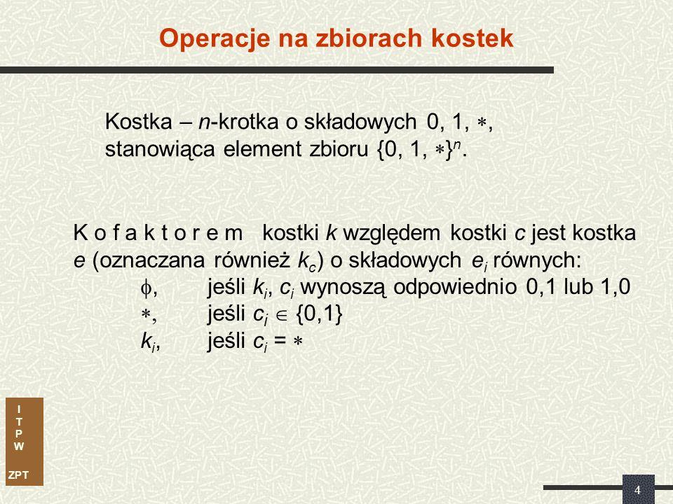 I T P W ZPT 3...zostało stworzone po to, aby nie obliczać trudnych tablic implikantów prostych Irredundant-Cover...