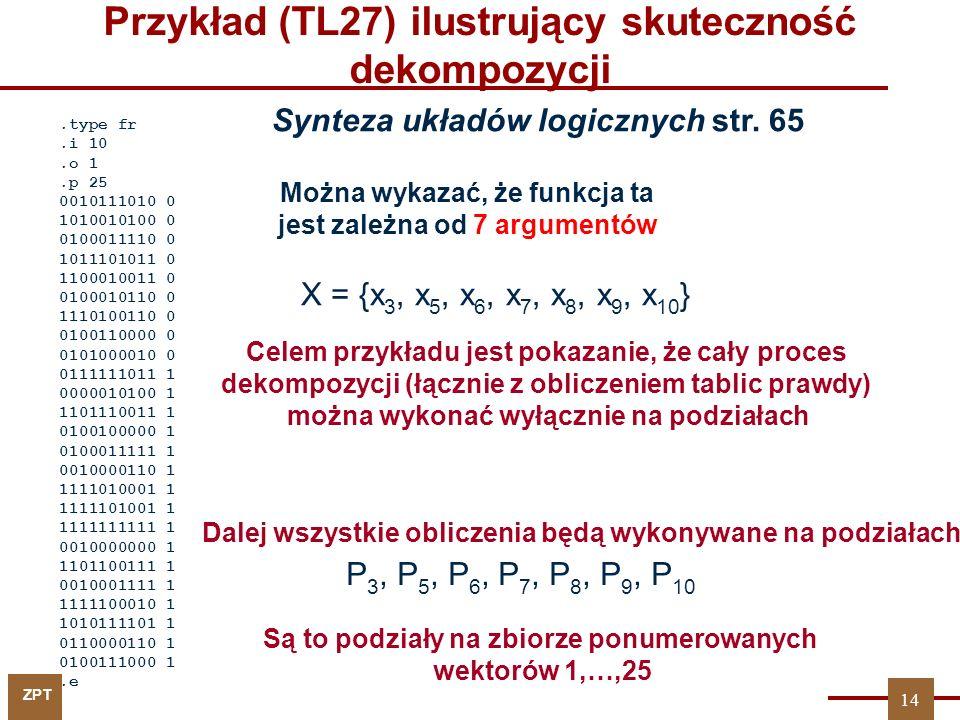 ZPT 14 Przykład (TL27) ilustrujący skuteczność dekompozycji.type fr.i 10.o 1.p 25 0010111010 0 1010010100 0 0100011110 0 1011101011 0 1100010011 0 010