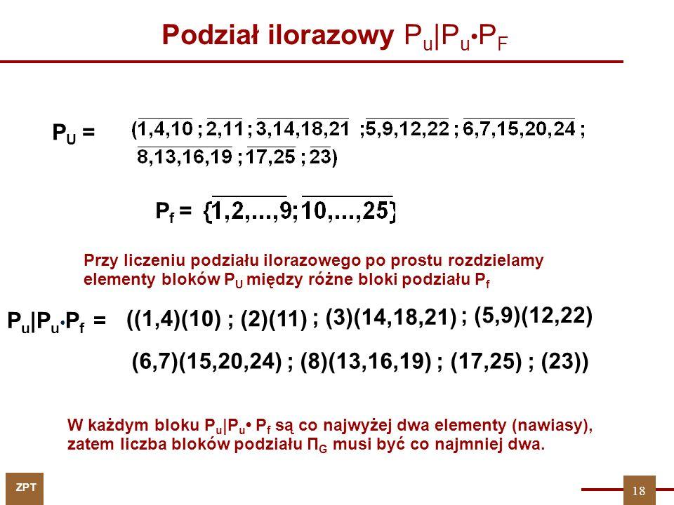 ZPT 18 ((1,4)(10) P U = P f = Podział ilorazowy P u |P u P F ; (2)(11) (6,7)(15,20,24) ; (8)(13,16,19) ; (17,25) ; (23)) ; (3)(14,18,21) ; (5,9)(12,22