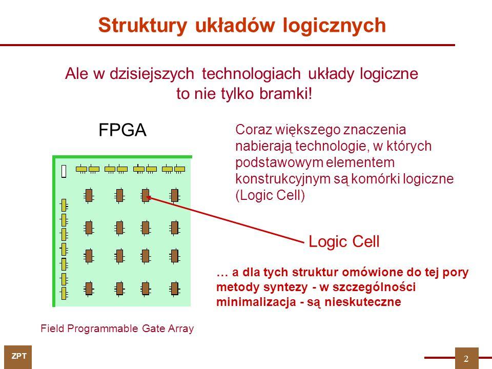 ZPT Struktury układów logicznych Field Programmable Gate Array Ale w dzisiejszych technologiach układy logiczne to nie tylko bramki! Coraz większego z