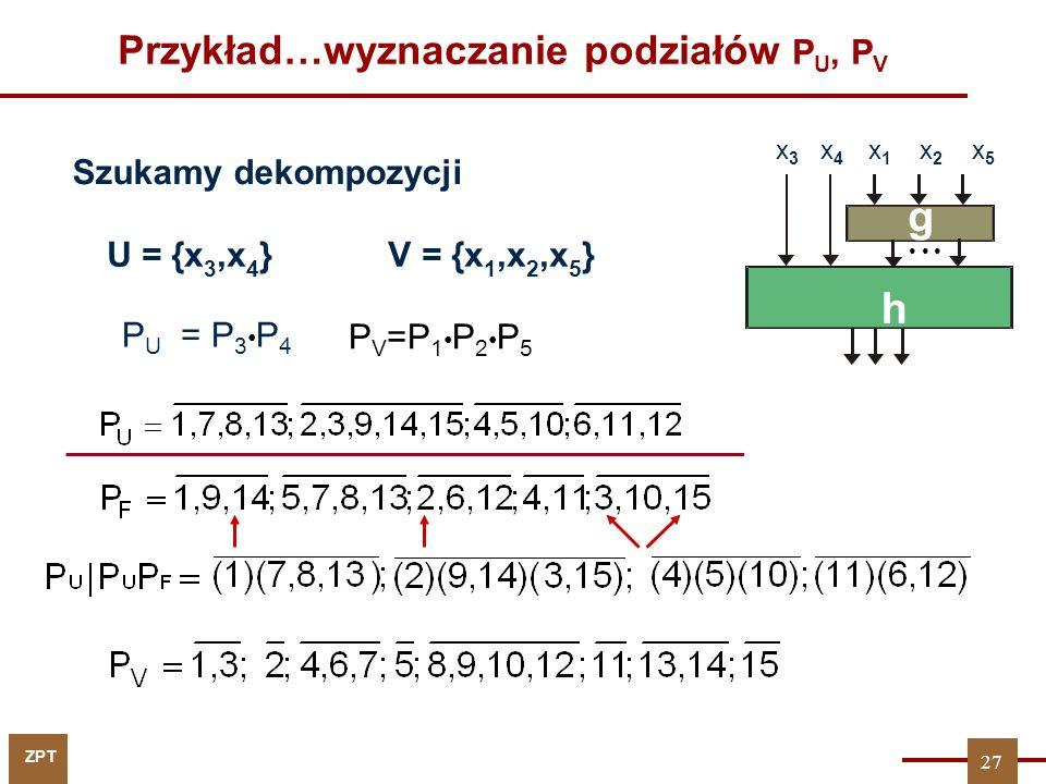 ZPT 27 Przykład…wyznaczanie podziałów P U, P V U = {x 3,x 4 } V = {x 1,x 2,x 5 } P U = P 3 P 4 P V =P 1 P 2 P 5 x 3 x 4 x 1 x 2 x 5 g h Szukamy dekomp