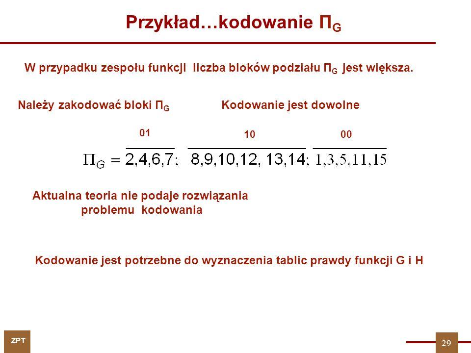 ZPT 29 Przykład…kodowanie Π G Należy zakodować bloki Π G 01 1000 Kodowanie jest dowolne Aktualna teoria nie podaje rozwiązania problemu kodowania W pr