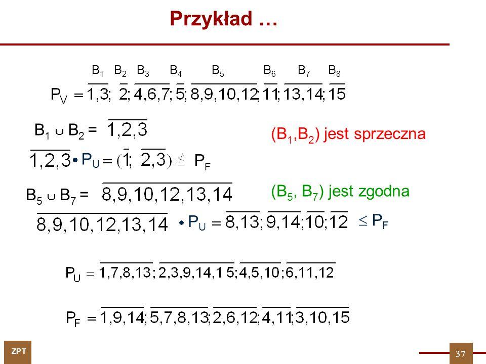 ZPT 37 Przykład … B 1 B 2 B 3 B 4 B5B5 B6B6 B7B7 B8B8 (B 1,B 2 ) jest sprzeczna B 1 B 2 = P U PFPF B 5 B 7 = P U P F (B 5, B 7 ) jest zgodna