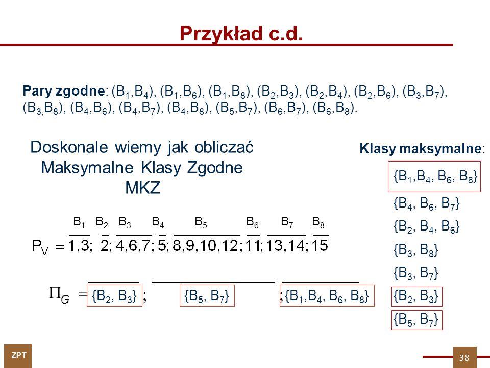 ZPT 38 Przykład c.d. Pary zgodne: (B 1,B 4 ), (B 1,B 6 ), (B 1,B 8 ), (B 2,B 3 ), (B 2,B 4 ), (B 2,B 6 ), (B 3,B 7 ), (B 3, B 8 ), (B 4,B 6 ), (B 4,B